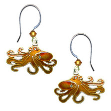 Octopus Cloisonne Wire Earrings | Nature Jewelry