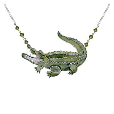Alligator Large Cloisonne Pendant Necklace | Nature Jewelry