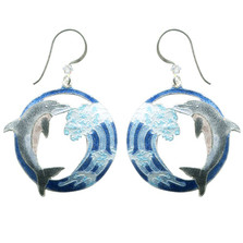 Hokusai Dolphin Wave Wire Earrings | Nature Jewelry
