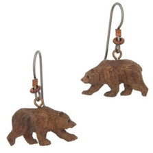 Grizzly Bear Wire Earrings   Nature Jewelry