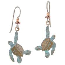 Sea Turtle Bronze Earrings | Nature Jewelry