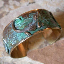Alligator Verdigris Brass Cuff Bracelet | Nature Jewelry