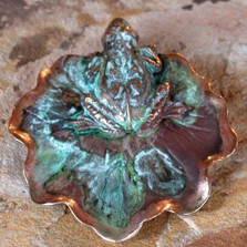Frog & Lily Pad Verdigris Pin | Nature Jewelry