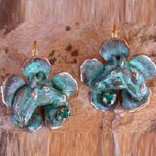 Horse Head on Flower Verdigris Brass Earrings | Nature Jewelry