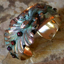 Lizard on Leaves Brass Cuff Bracelet | Nature Jewelry