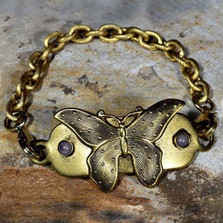 Butterfly Antique Gold Bracelet-Rockband Plaque | Nature Jewelry