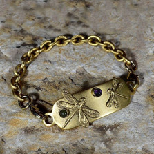 Dragonfly Antiqued Gold Brass Bracelet-Amethyst-Jade | Nature Jewelry
