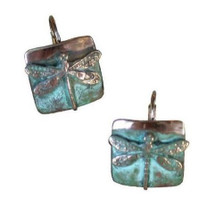 Dragonfly Verdigris Brass Earrings | Nature Jewelry