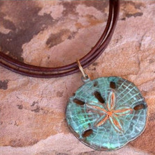 Sand Dollar Verdigris Brass Necklace | Elaine Coyne Jewelry | ECGOCP507pd