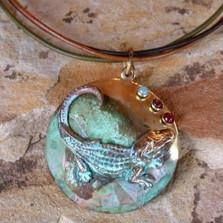 Alligator Verdigris Brass Necklace | Nature Jewelry