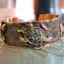 Sea Turtle Verdigris Brass Cuff Bracelet | Nature Jewelry