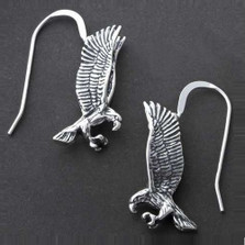 Flying Eagle Sterling Silver Wire Earrings | Nature Jewelry