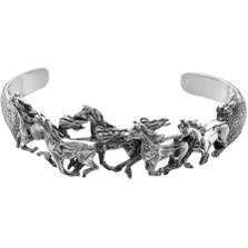 Five Horse Sterling Silver Cuff Bracelet | Nature Jewelry