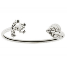 Frog & Leaf Sterling Silver Tube Bracelet | Nature Jewelry