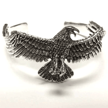 Eagle Design Sterling Silver Cuff Bracelet | Nature Jewelry