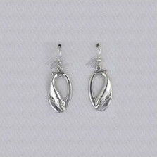 Dolphin Oval Sterling Silver Wire Earrings | Nature Jewelry