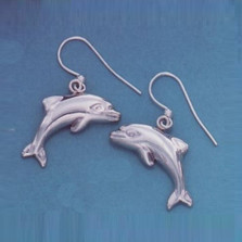 Dolphin Jumping Sterling Silver Wire Earrings | Nature Jewelry