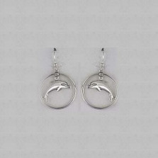 Dolphin Floating Sterling Silver Wire Earrings | Nature Jewelry
