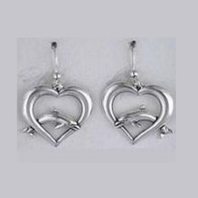 Dolphin on Heart Sterling Silver Wire Earrings | Nature Jewelry
