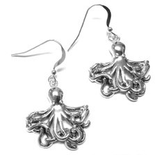 Octopus Sterling Silver Wire Earrings | Nature Jewelry