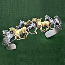 Arabian Horses 14K Gold Sterling Silver Cuff Bracelet | Nature Jewelry
