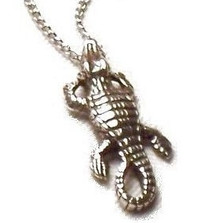 Crocodile Pendant Sterling Silver Necklace | Nature Jewelry