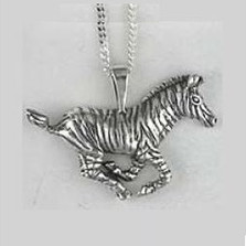 Zebra Pendant Sterling Silver Necklace | Nature Jewelry