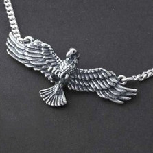 Eagle Pendant Sterling Silver Necklace | Nature Jewelry