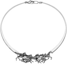 Arabian Horses Sterling Silver Collar Necklace | Nature Jewelry
