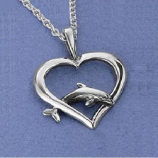 Dolphin Heart Pendant Sterling Silver Necklace | Nature Jewelry