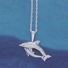 Dolphin and Baby Pendant Sterling Silver Necklace | Nature Jewelry