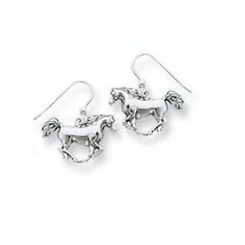 Galloping Horse Sterling Silver Wire Earrings | Nature Jewelry