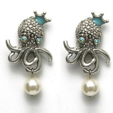 By the Sea Octopus Pearl Earrings | Nature Jewelry