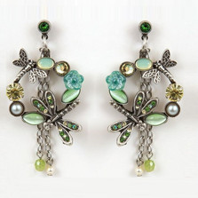 Dragonfly and Flower Hoop Earrings | Nature Jewelry