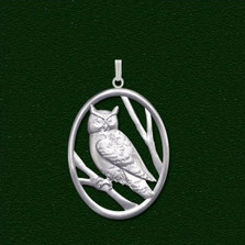 Pewter Owl Small Pendant | Nature Jewelry
