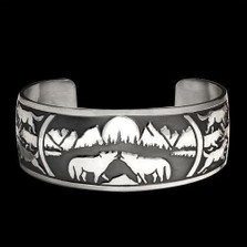 Wolf Pack Sterling Silver Bracelet | Nature Jewelry