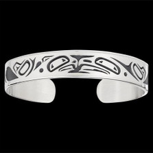 Lovebirds Sterling Silver Tribal Cuff Bracelet |  Metal Arts Group Jewelry | MAG10472-S