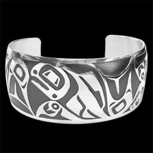 Salmon Sterling Silver Tribal Cuff Bracelet    Metal Arts Group Jewelry   MAG10474