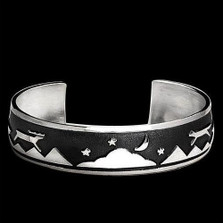 Wolf and Elk Night and Day Bracelet   Nature Jewelry