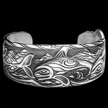 Whale Solitude Sterling Silver Cuff Bracelet | Nature Jewelry