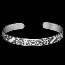 Tribal Flower Sterling Silver Thin Cuff Bracelet    Metal Arts Group Jewelry   MAG12196
