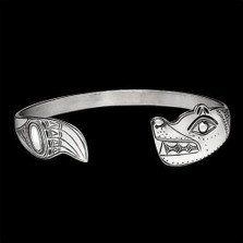 Bear Tribal Sterling Silver Cuff Bracelet   Nature Jewelry