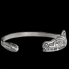 Wolf Tribal Sterling Silver Wrap Bracelet   Nature Jewelry