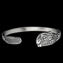 Beaver Tribal Silver Wrap Cuff Bracelet | Nature Jewelry