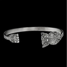 Owl Thin Sterling Silver Cuff Bracelet | Nature Jewelry