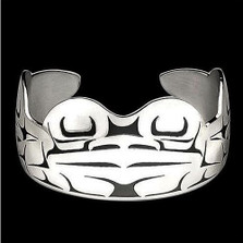 Frog Tribal Sterling Silver Cuff Bracelet | Nature Jewelry