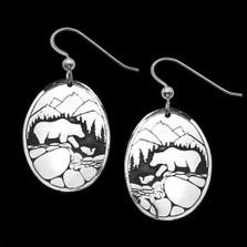 Fishing Bears Sterling Silver Earrings   Nature Jewelry