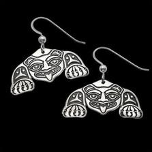 Biorka Bear Tribal Sterling Silver Earrings   Nature Jewelry