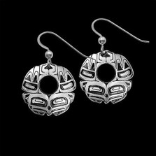 Eagle Round Sterling Silver Earrings | Nature Jewelry