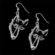 Wolf Sterling Silver Earrings   Nature Jewelry